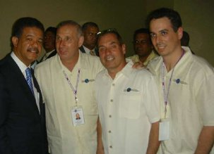 Dr. Todd Herold, Dr. Peter Morgan and Dr. JC Doornick with President Leonel Fernandez