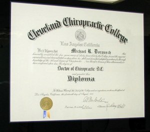 Cleveland Chiropractic College Diploma 1998