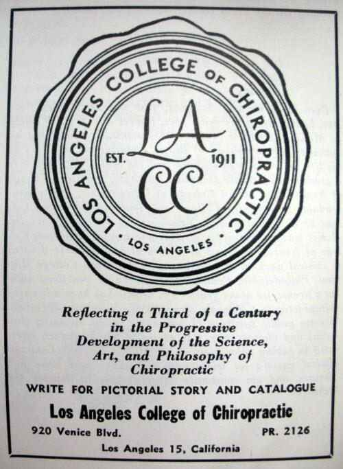 1946 advertisement Los Angeles Chiropractic College