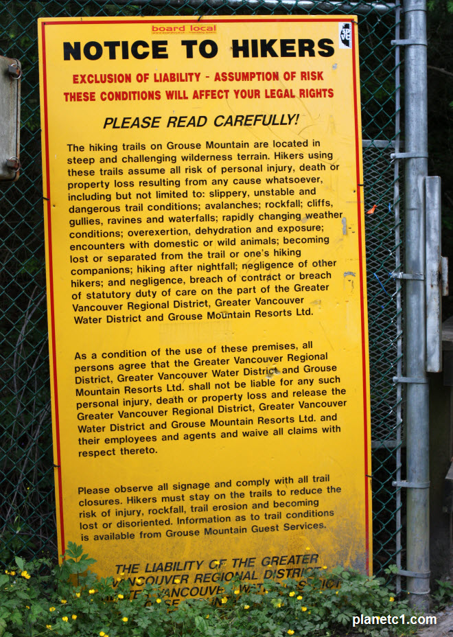 Notice to Hikers Grouse Mountain