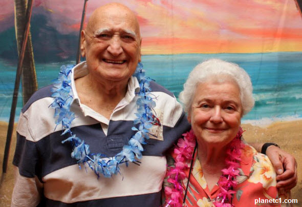 Reggie Gold and Irene Gold at Hawaiian theme party