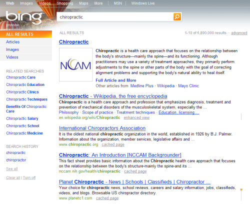 Microsoft Bing Screenshot - All Results for Chiropractic
