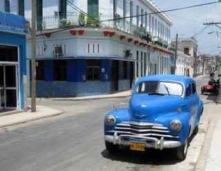 Blue car on street in Cuba