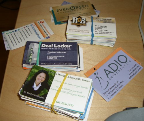 business cards from chiropractors and marketers