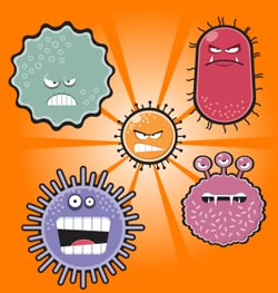 cartoon microbes