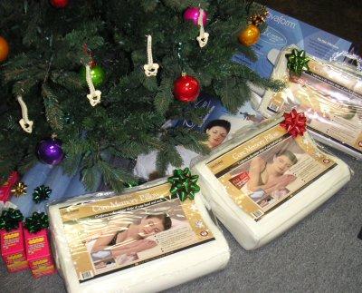 orthopedic pillows underneath the Christmas tree