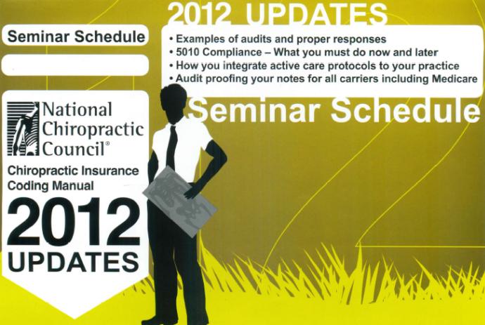 chiropractic insurance coding manual 2012 updates
