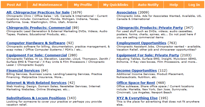 14 categories of classifieds