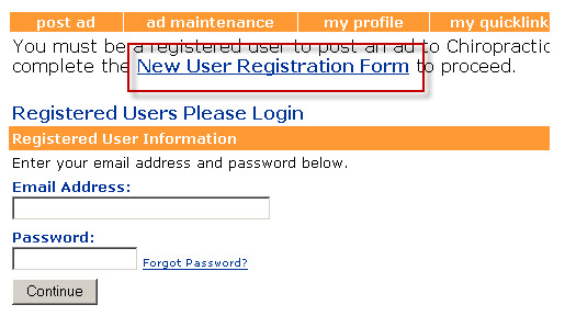 new user registration form
