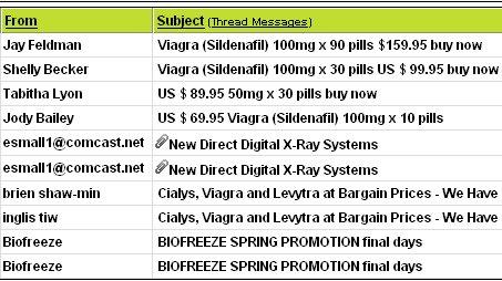 e-mail spam threaded messages screenshot