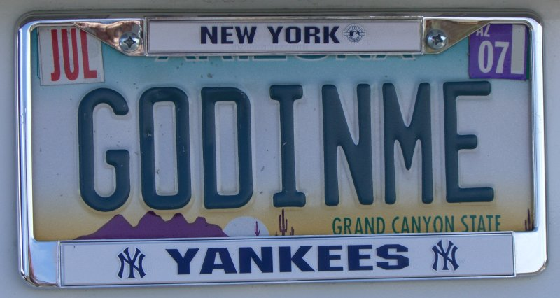 God in me license plate