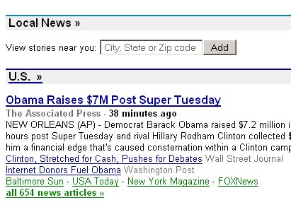 Google News local news