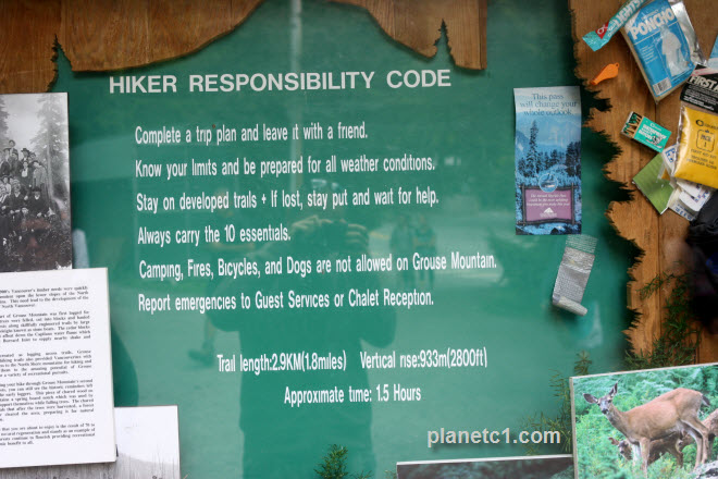 Hiker Responsibility Code Grouse Mountain