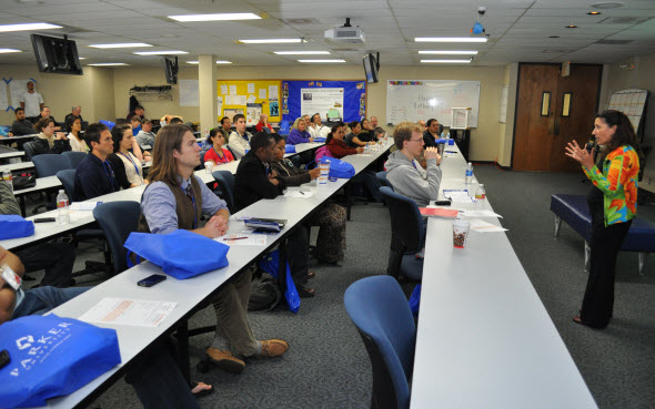 Homecoming attendees in a class instructed by Dr. Nicole Lederman