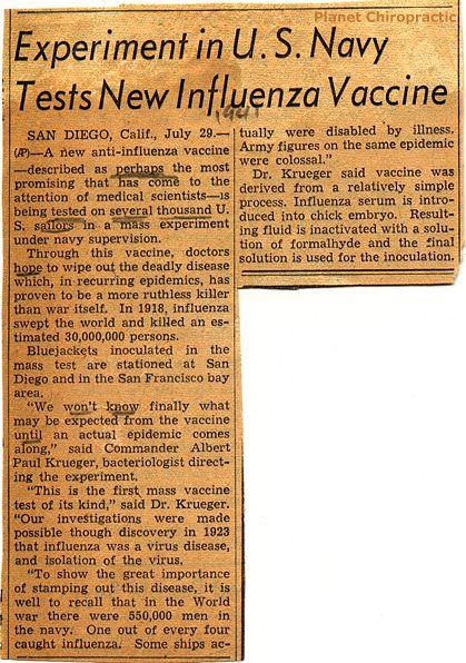 Experimental Influenza Vaccine 1941