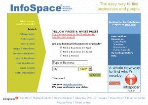 InfoSpace homepage