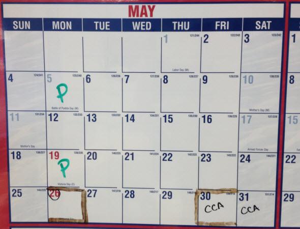 May 2014 Calender