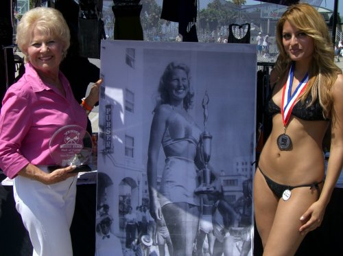 Miss Muscle Beach 1948 with 60 year commemorative reward
