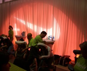 massage inside Nike tent