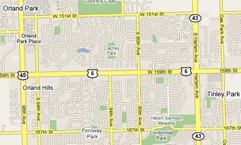 map of Orland Park Chicago
