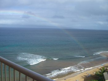 rainbow outside my beach hotel room
