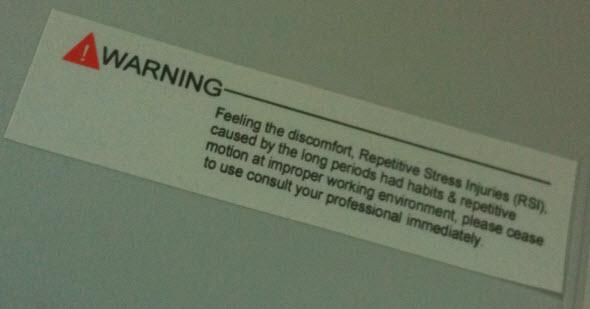 repetitive stress injuries computer keyboard warning