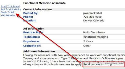 send chiropractic resume to