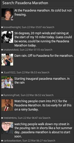 Pasadena Marathon Weather Twitter Report