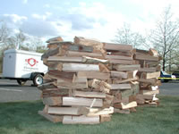 The wood after it was stacked