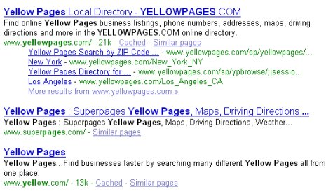 yellowpages screenshot Google results August 18